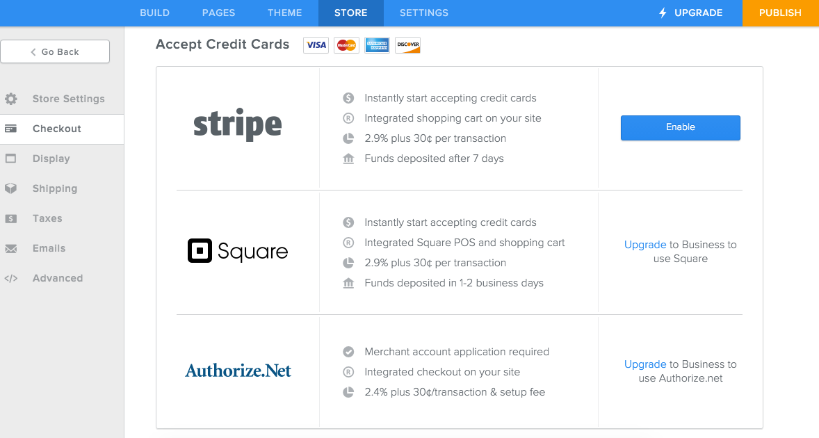 Weebly Payment Options