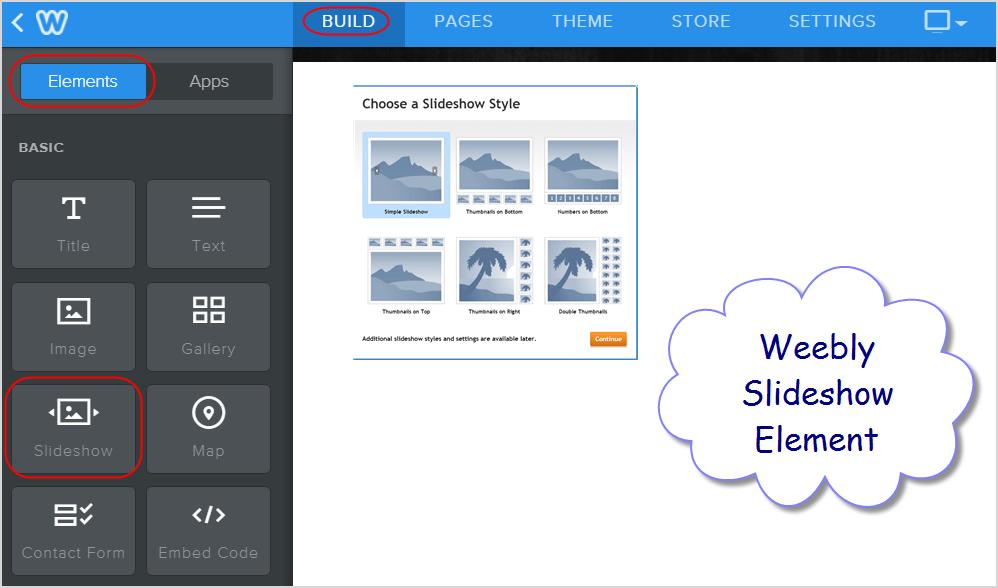 Weebly Slideshow Element