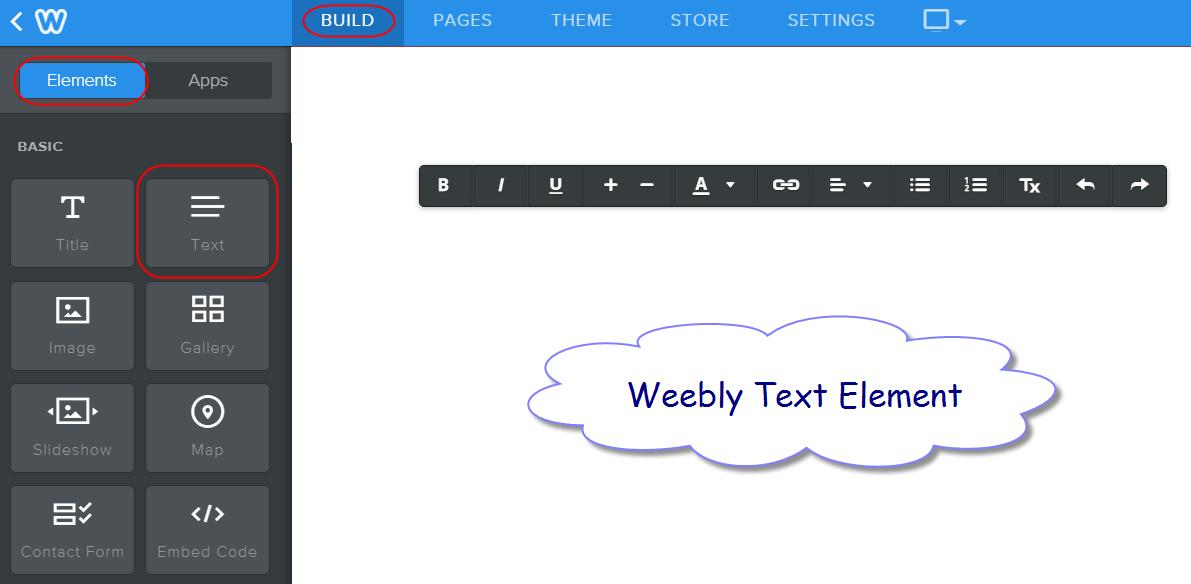 Текстовый элемент Weebly