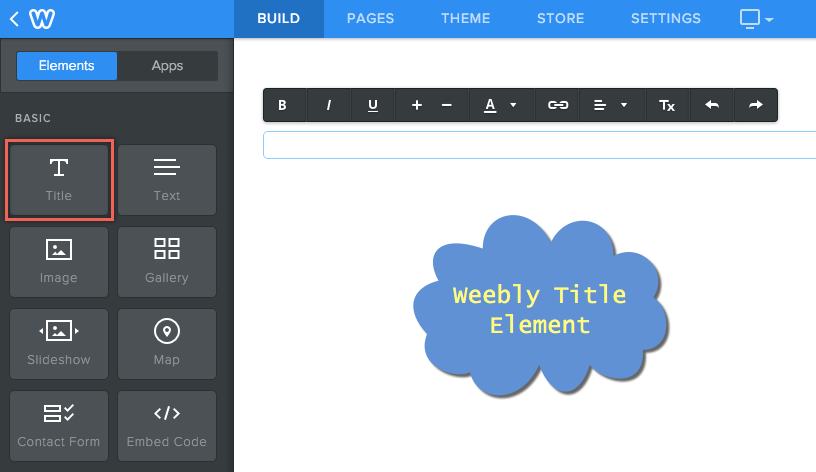 Элемент заголовка Weebly