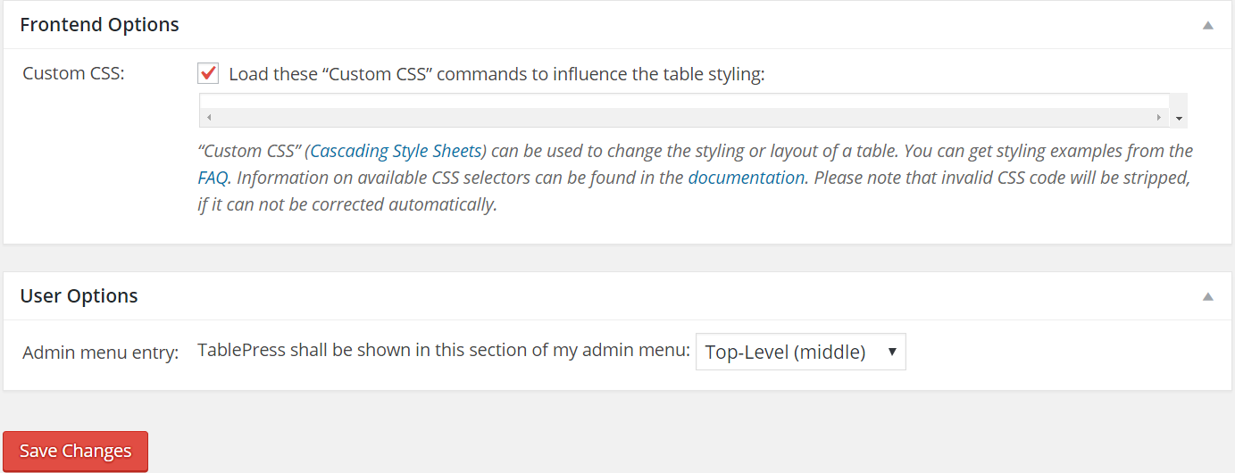 Adding Custom CSS in TablePress