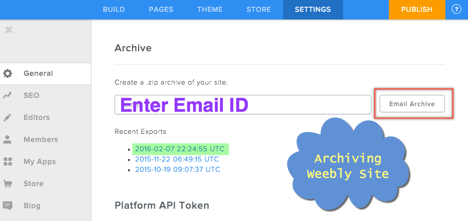 Archiving Weebly Site