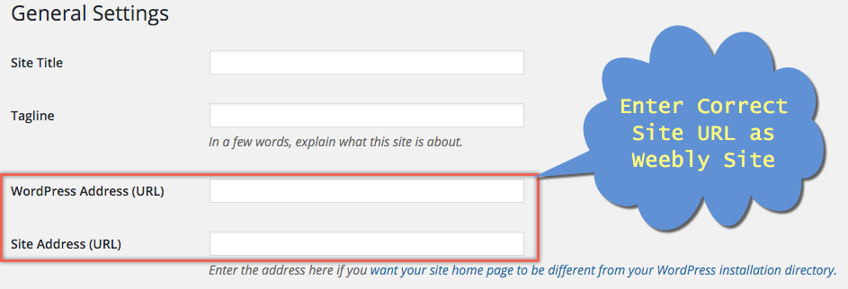 Changing WordPress Site URL to Weebly Site URL