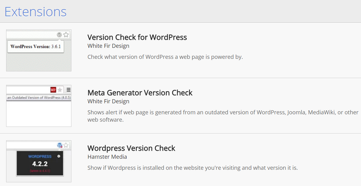 Chrome Extensions for WordPress Version Check