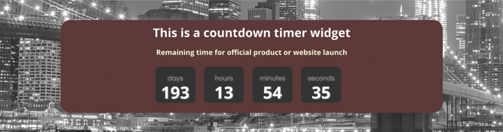 Countdown Timer Widget with Parallax Image Background