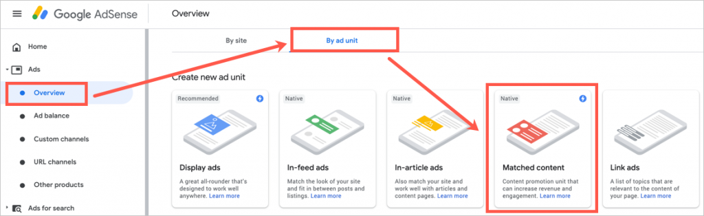 Create Matched Content Ad
