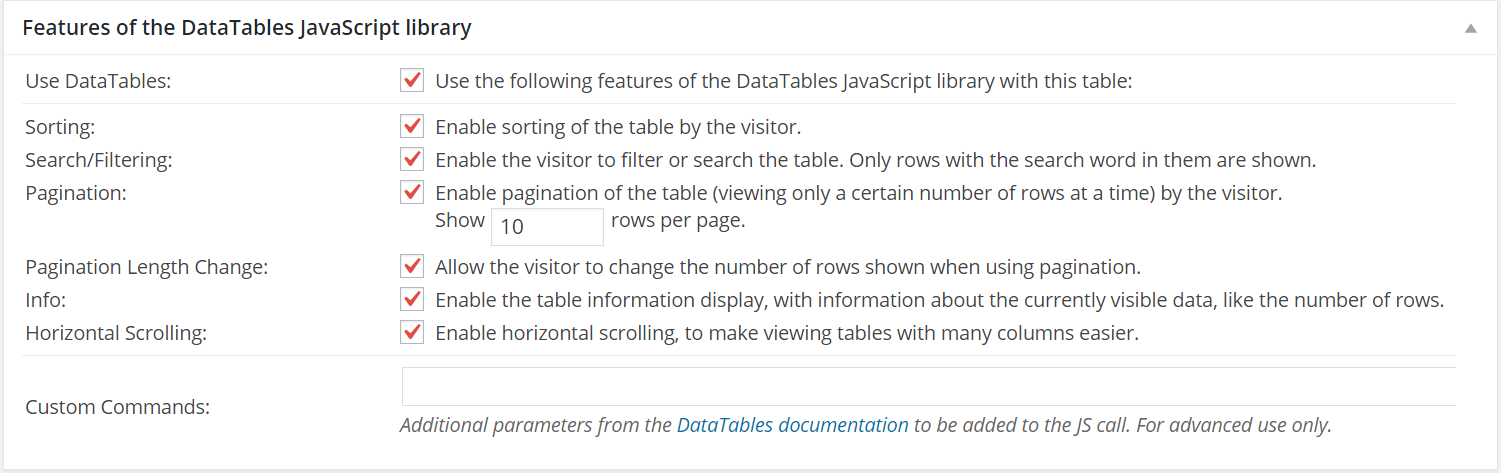 Creating Data Tables Using TablePress