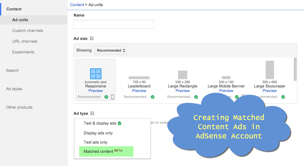 Creating Matched Content Ads in AdSense