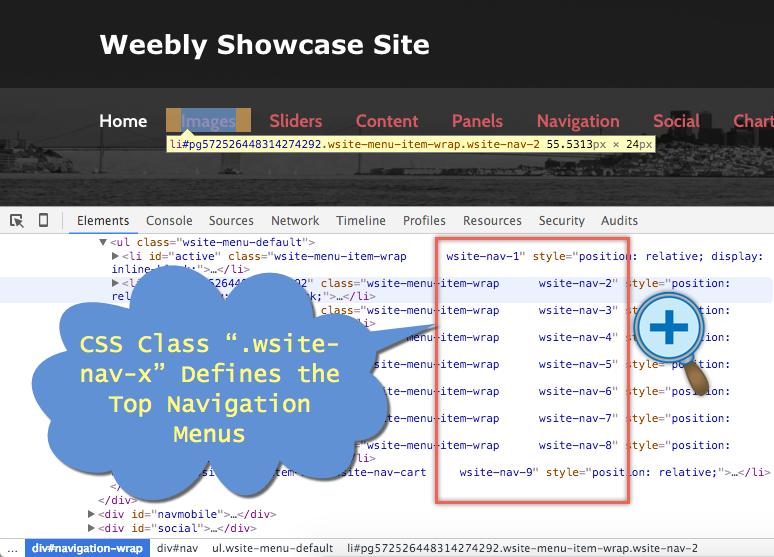 Поиск класса CSS для верхнего меню навигации Weebly