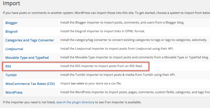 Importing Weebly RSS Feed to WordPress
