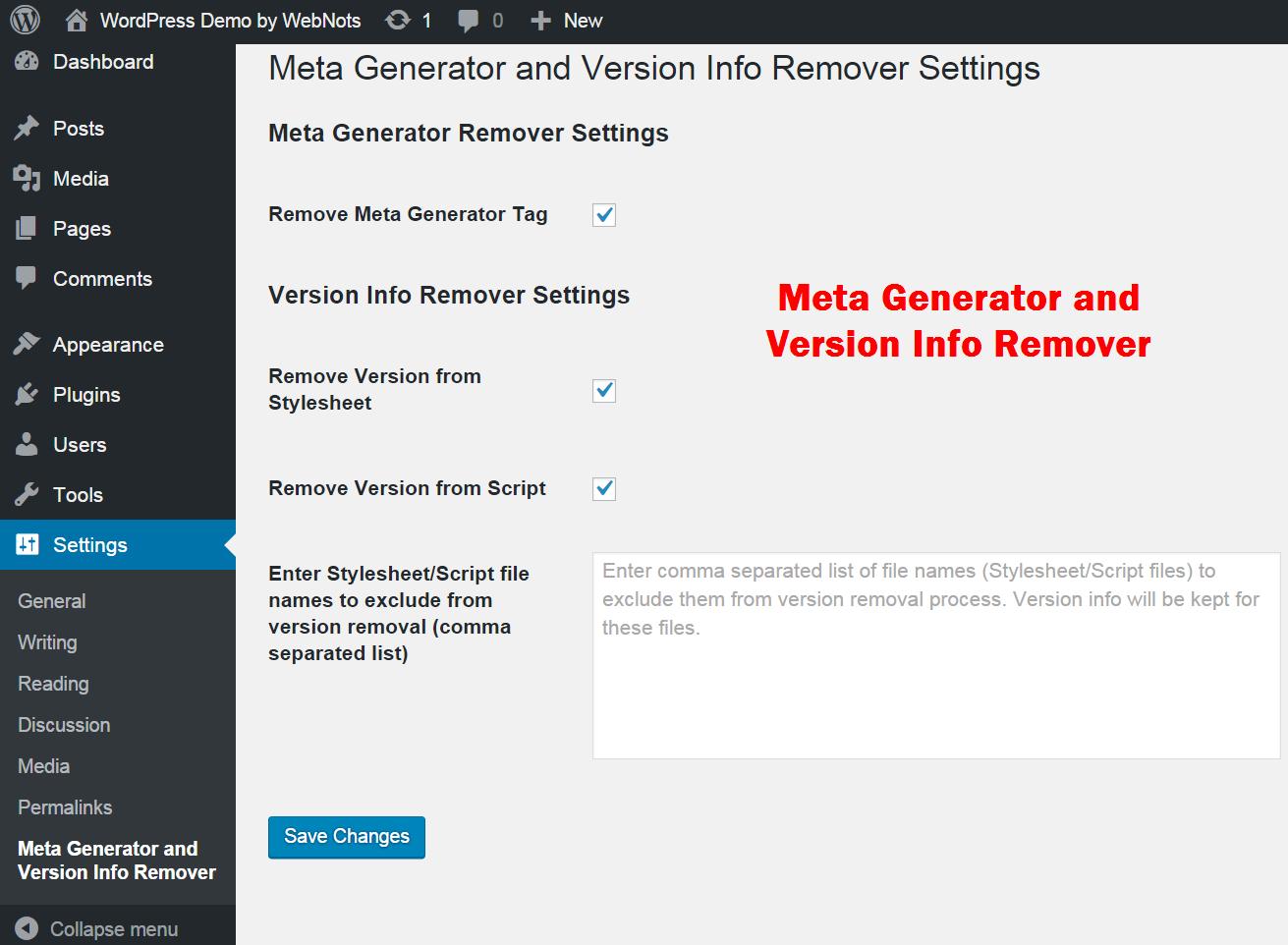 Meta Generator and Version Info Remover
