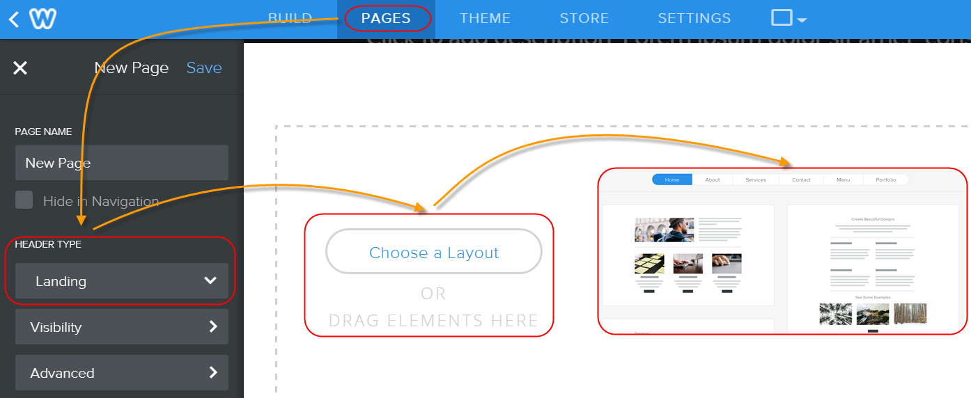 Selecting Default Landing Page Layouts