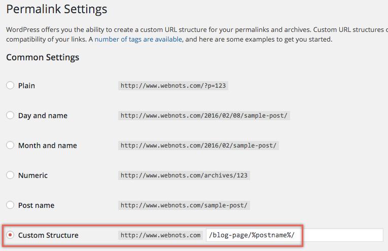 Setting URL Structure in WordPress