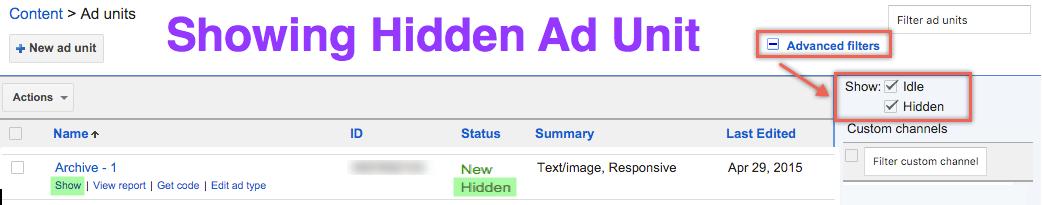 Показан скрытый рекламный блок AdSense