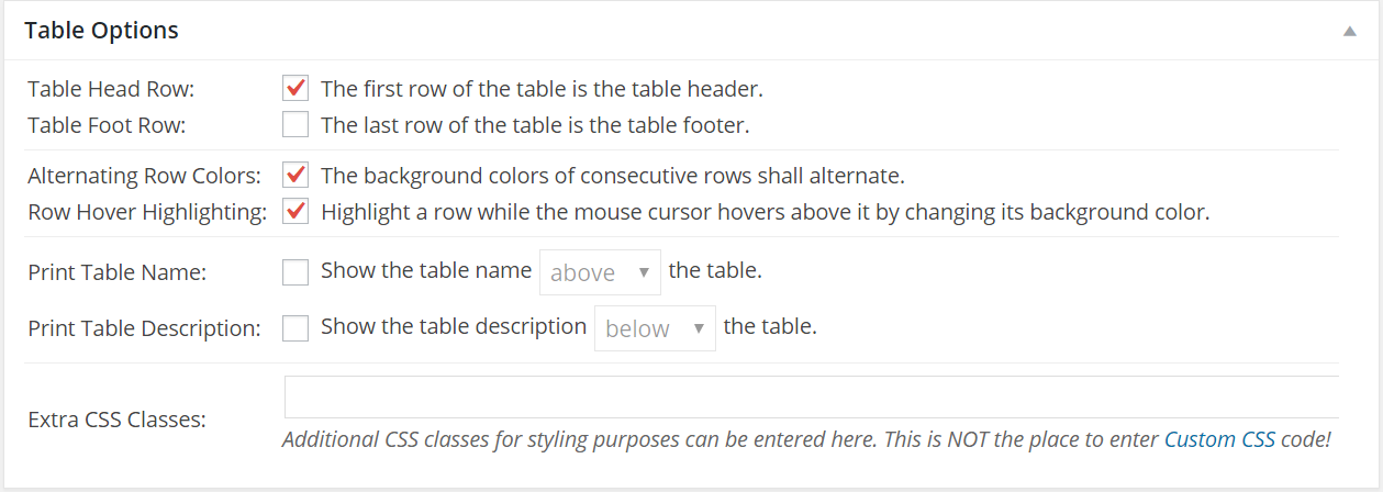 TablePress Table Options