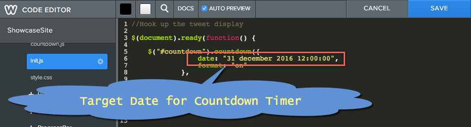Target Date for Countdown Timer