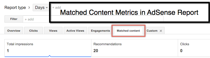 Viewing Reports on Matched Content Ads