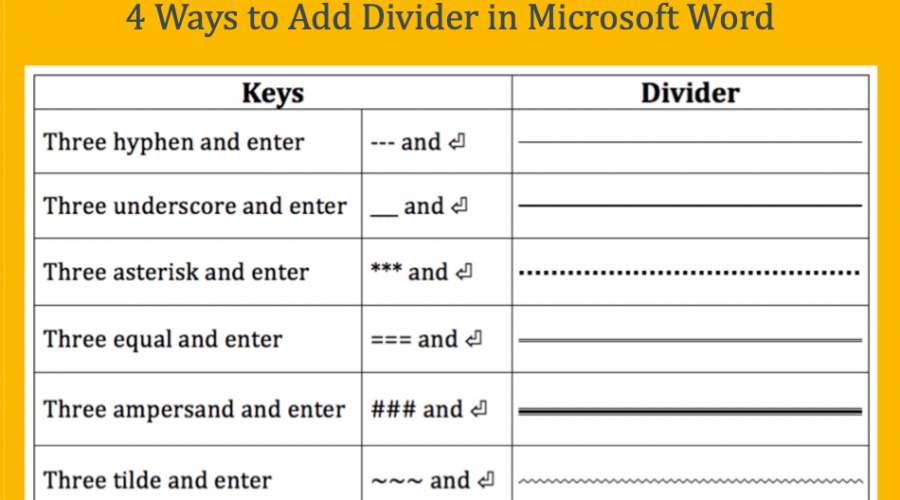 4 Ways to Add Dividers in Microsoft Word
