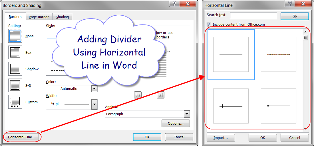 Adding Divider Using Horizontal Line
