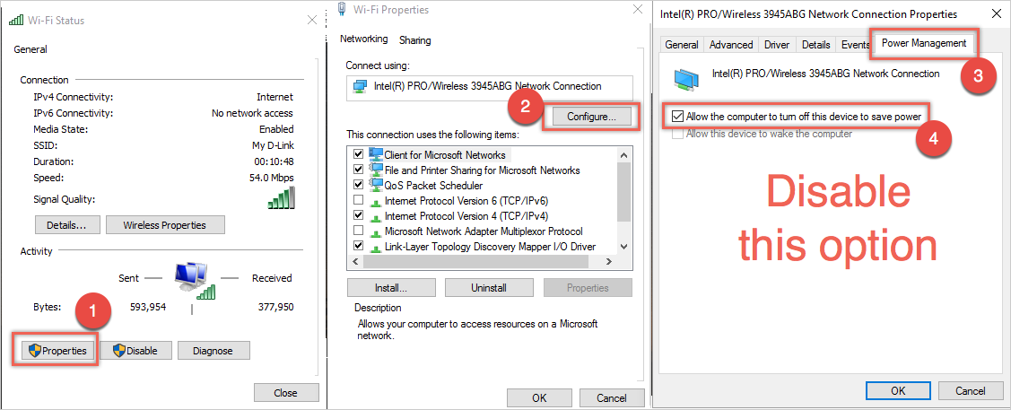 Change Power Settings of Wireless Adapter
