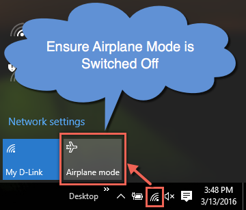 Check Airplane Mode is Off in Windows 10