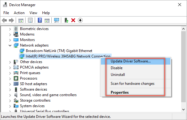 Check Network Adapter in Device Manager