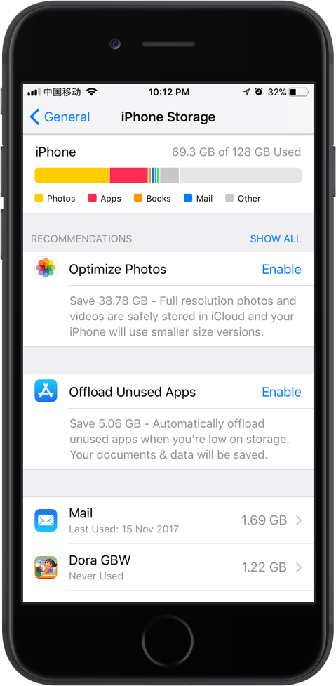 Check Storage in iPhone
