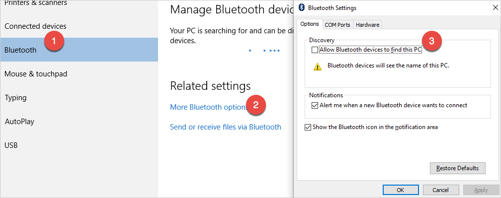 Disable Bluetooth Discovery Settings