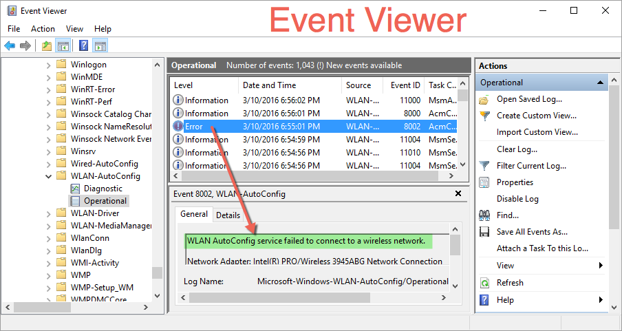 View Error Message in Event Viewer