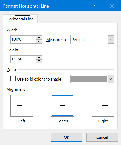 Format Horizontal Line in Word