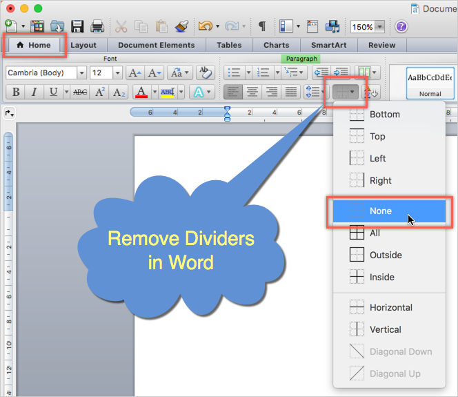 Remove Dividers in Word