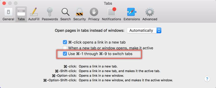 Tab Navigation Settings in Safari