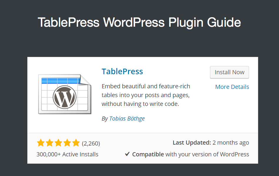 TablePress WordPress Plugin Guide