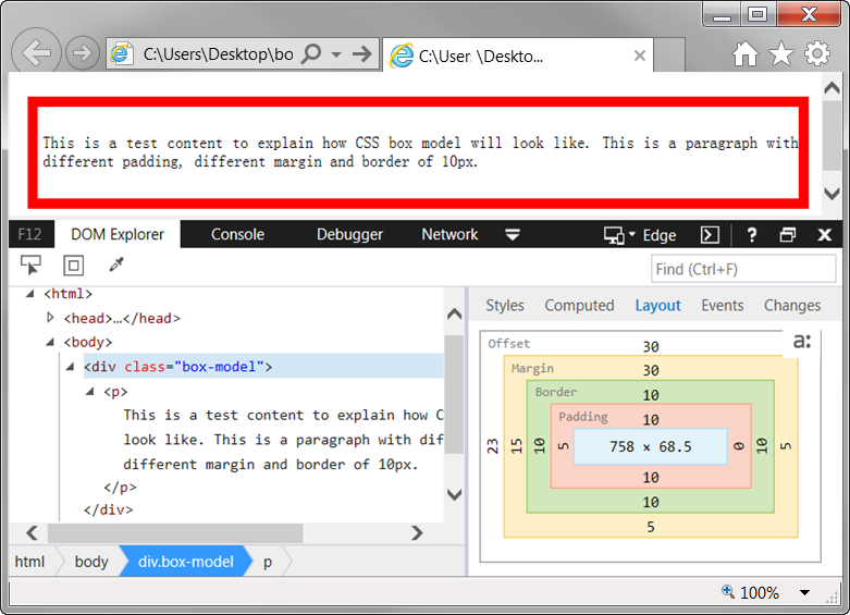 Viewing CSS Box Model of an Element in IE 11 Browser