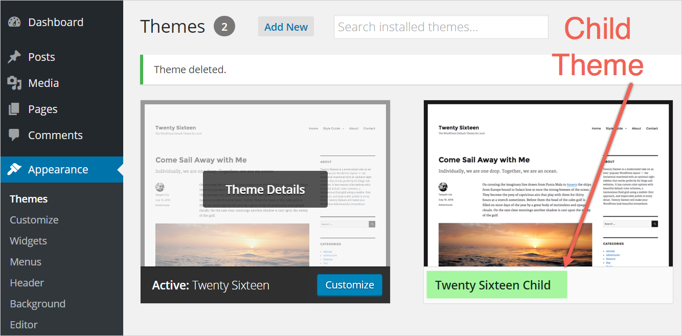 Activating Child Theme in WordPress