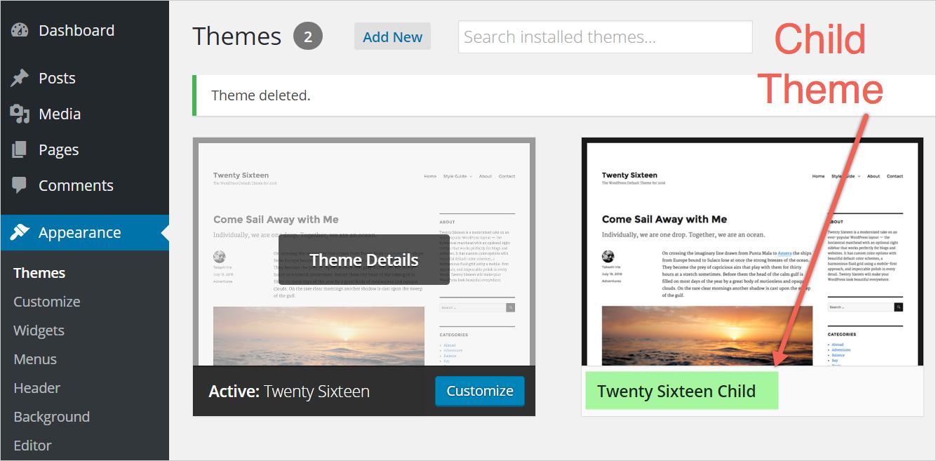 Активация дочерней темы в WordPress