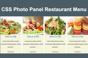 CSS Photo Panel Restaurant Menu
