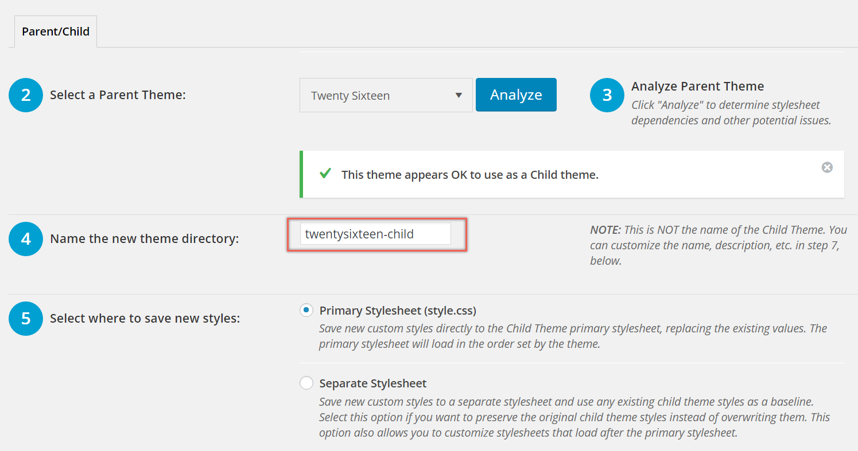 Choosing Child Theme Directory Name and Stylesheet