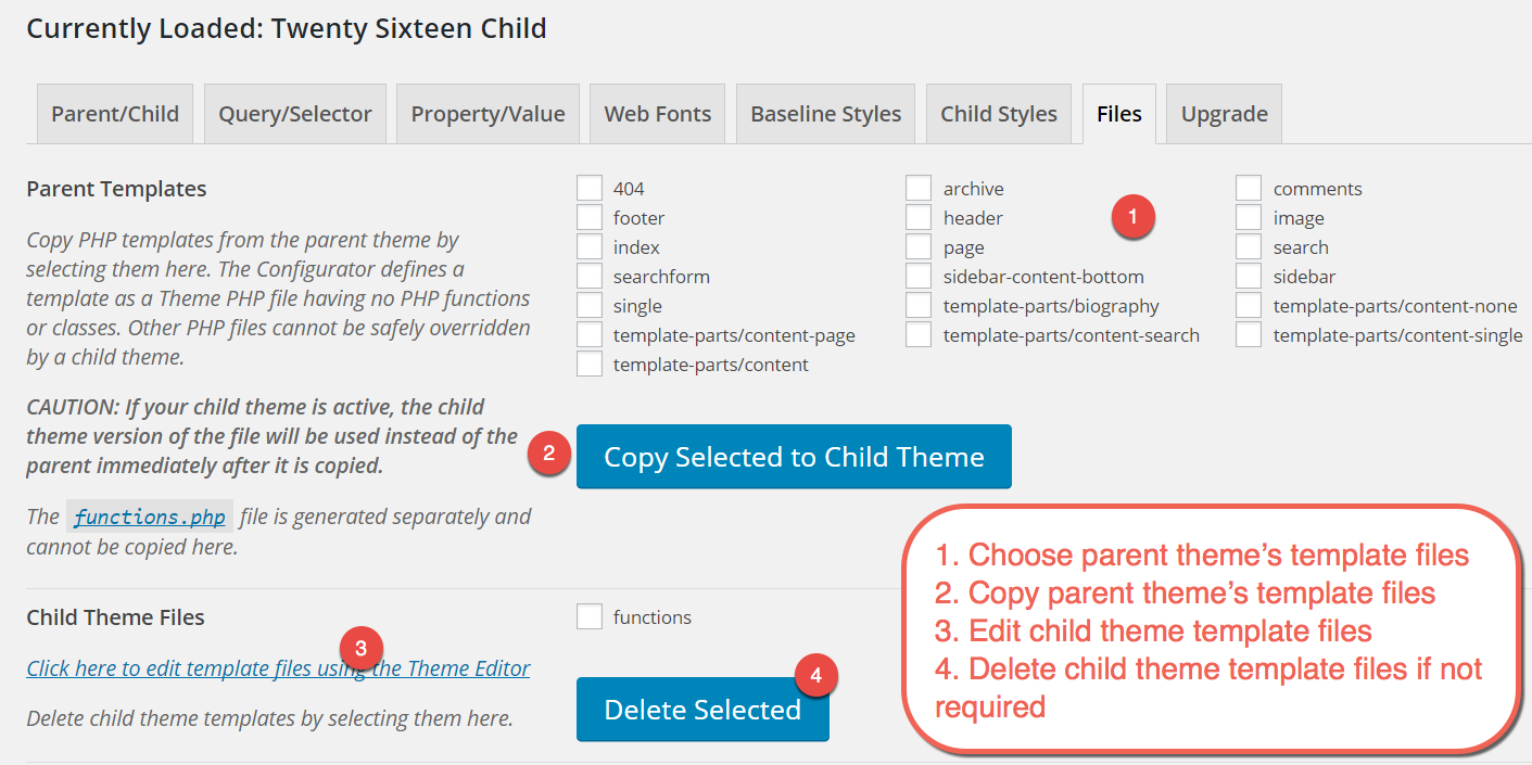 Copying Parent Theme Template Files for Child Theme
