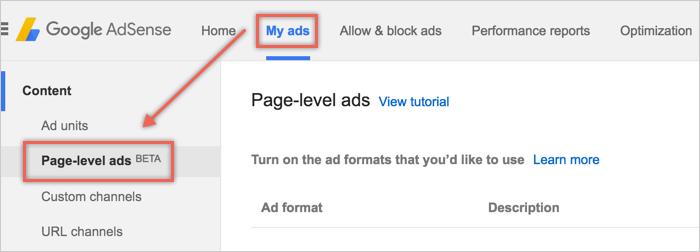 Создание рекламы уровня страницы в Google AdSense