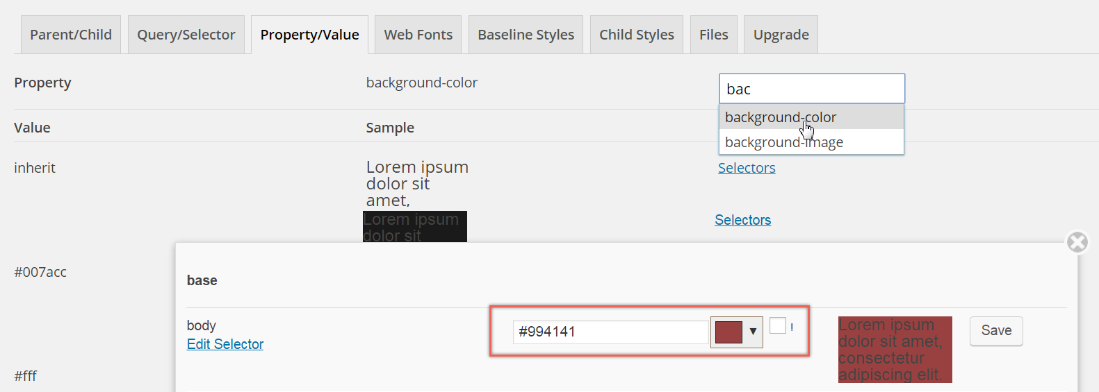 Customizing Parent Theme CSS in with Property / Value
