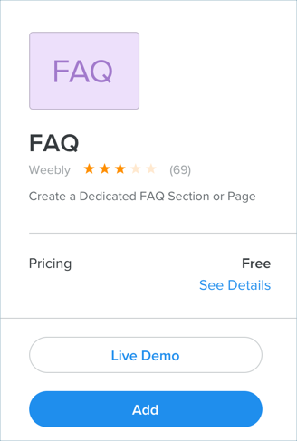 Default Weebly FAQ App
