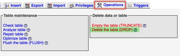 Удалить таблицу базы данных WordPress