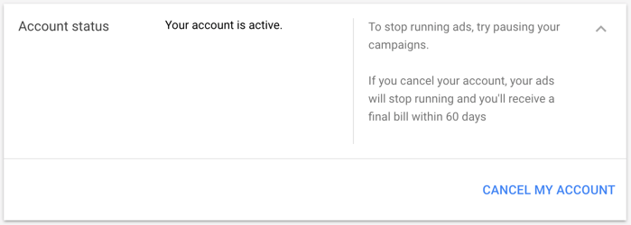 Deleting AdWords Account