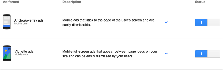 Включение рекламы на уровне страницы в AdSense