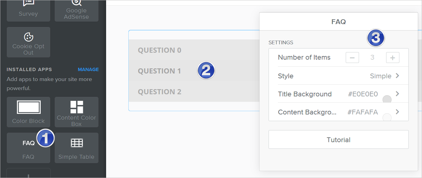 Insert FAQ Section in Weebly