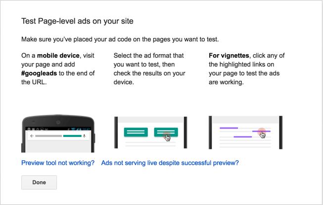 Тестирование демонстрации рекламы уровня страницы
