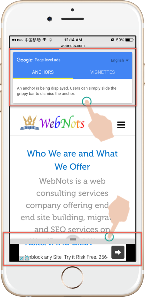 Тестирование рекламы на уровне страницы на iPhone