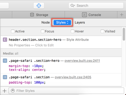 Viewing Element CSS in Safari