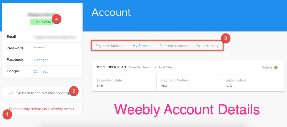 Weebly Account Details